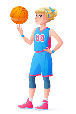 Cute young athlete girl in blue basketball uniform spinning the ball on her finger. Cartoon vector character isolated on white background.