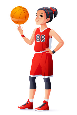 Cute young Asian ethnicity young basketball player girl in red uniform spinning the ball on her finger. Cartoon vector illustration isolated on white background.