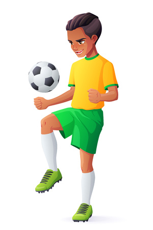 Cute young teen football or soccer player boy in uniform juggling with ball. Cartoon vector character isolated on white background.