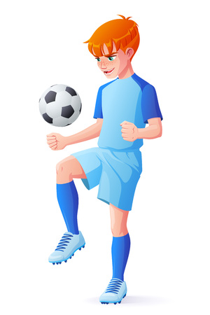Cute young redhead football or soccer player boy in blue uniform juggling with ball. Cartoon vector illustration isolated on white background. Illusztráció