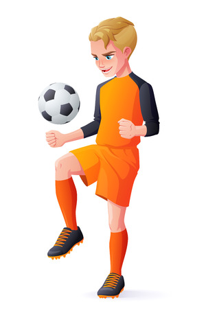 Cute young football or soccer player boy in orange uniform playing with ball. Cartoon vector illustration isolated on white background.