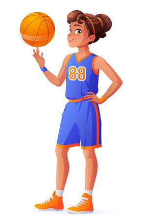 Leuk jong mooi jong basketbal speler meisje in blauwe uniform het spinnen van de bal op haar vinger. Cartoon illustratie geïsoleerd op een witte achtergrond.