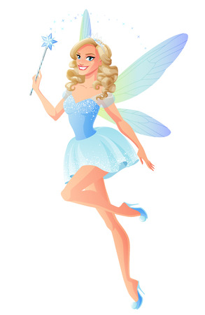 Beautiful blue fairy with magic wand and dragonfly wings. Cartoon style illustration isolated on white background. Stock fotó - 70905566