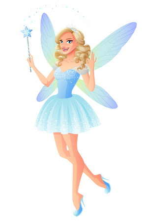 Beautiful blue fairy with magic wand and dragonfly wings showing OK. Cartoon style vector illustration isolated on white background.