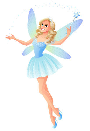 Beautiful blue flying and presenting fairy with magic wand and dragonfly wings. Cartoon style vector illustration isolated on white background.