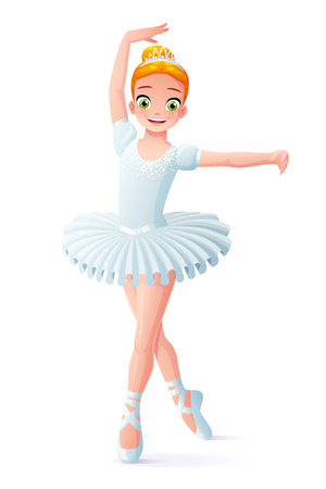 Cute smiling young dancing ballerina girl in white tutu dress. Cartoon style vector illustration isolated on white background. 일러스트