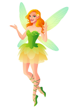 Beautiful fairy in green dress with dragonfly wings shows OK sign gesture. Cartoon style vector illustration isolated on white background. Illusztráció