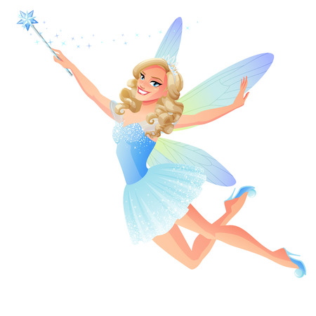 Beautiful flying tooth fairy in blue dress with dragonfly wings and magic wand. Cartoon style vector illustration isolated Illusztráció