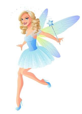Beautiful flying fairy in blue outfit with dragonfly wings and magic wand. Cartoon style vector illustration isolated