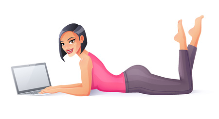 Positive young woman lying on floor working with laptop. Cartoon style illustration isolated on white layout