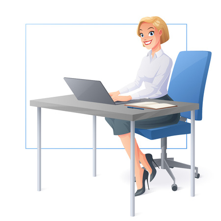 Beautiful smiling business woman or a clerk working with laptop at office desk. Cartoon style vector illustration isolated on white background. 일러스트