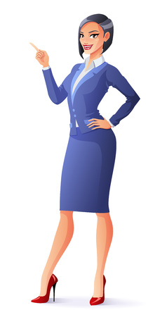 Beautiful smiling business woman in blue formal suit with finger pointing up. Cartoon vector illustration isolated on white background.