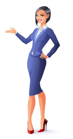 Business woman in blue formal suit standing and presenting.