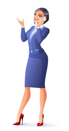 Business woman in blue formal suit standing talking on phone. 일러스트