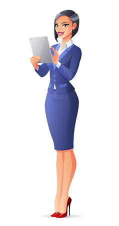 Bbusiness woman in blue formal suit using a touch pad tablet portable computer.