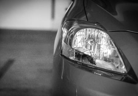 headlights: Headlights like eyes when driving on the road. Stock Photo