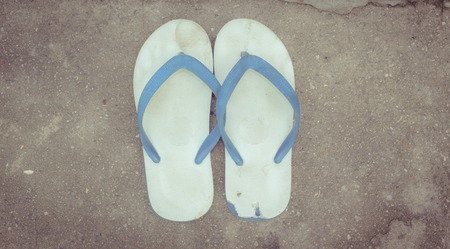 wearing sandals: the rubber slippers for the foot Stock Photo