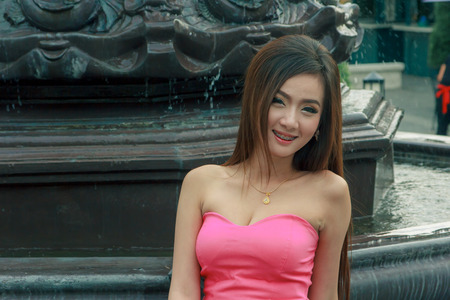 strapless dress: Model is the strapless dress fashion from the thailand.