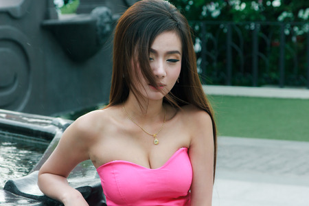 strapless: Model is the strapless dress fashion from the thailand.