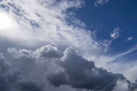Gloomy thunderclouds with blue sky.Panorama of the sky with place for text.