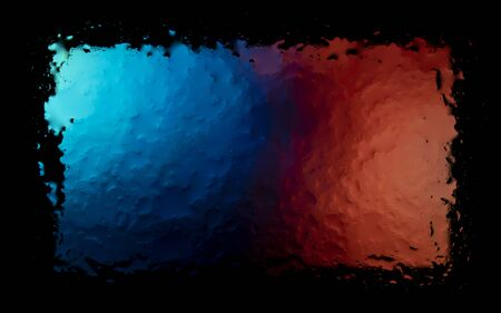 Colored abstract wallpaper on a black background with raindrops on glass