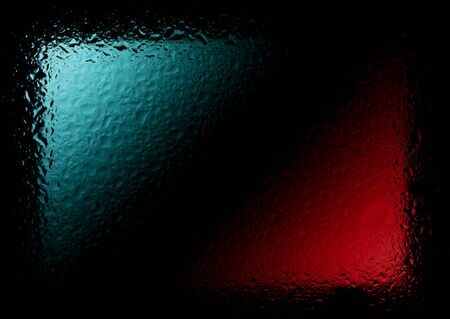 Red-blue abstract wallpaper with drops of liquid on the glass