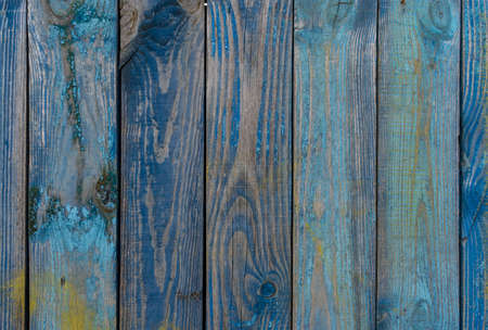 Old blue painted vertical wooden planks, background, texture 写真素材
