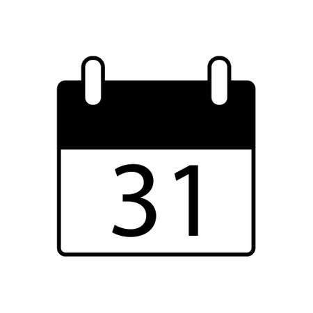 Calendar icon with the date 31th in flat style