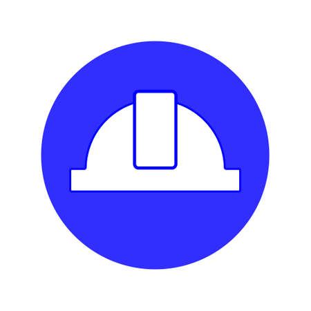 Work only in a helmet, sign. Construction helmet line icon concept. Construction helmet flat design