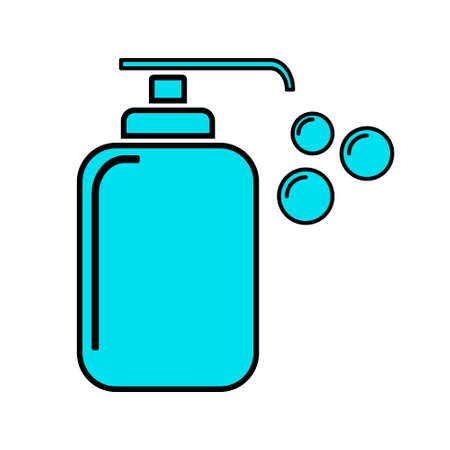 Disinfection and Hand Sanitizer, Blue Icon Vector Design on White Background. 向量圖像