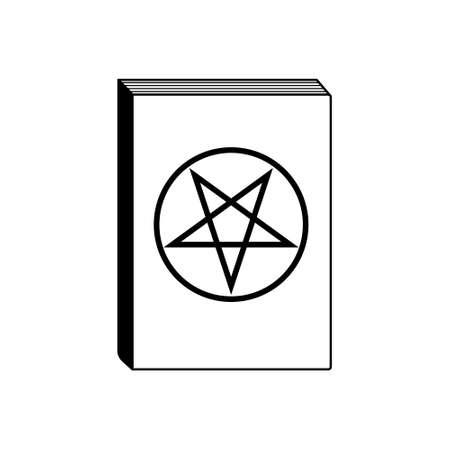 Occult Book Thin Line Icon. Book Of Magic Vector Illustration Isolated On White. Book With Pentagram