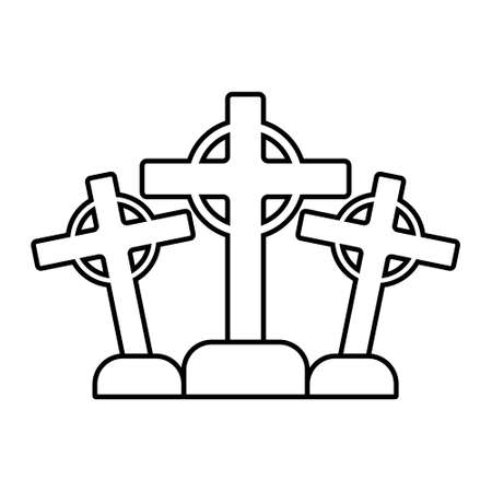 Three crosses on white background. Vector illustration. Flat design