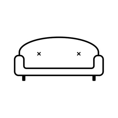 Retro Sofa icon isolated on white background. Couch for living room. Flat line design
