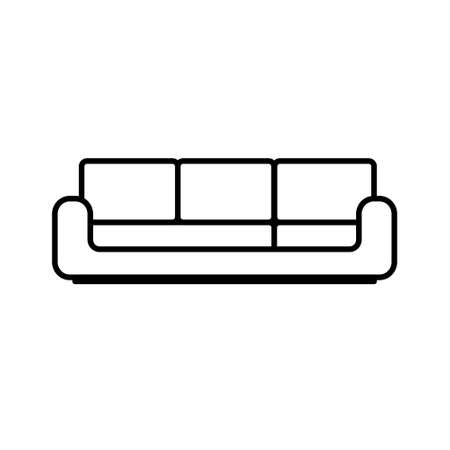 Sofa icon isolated on white background. Couch for living room.Flat line design