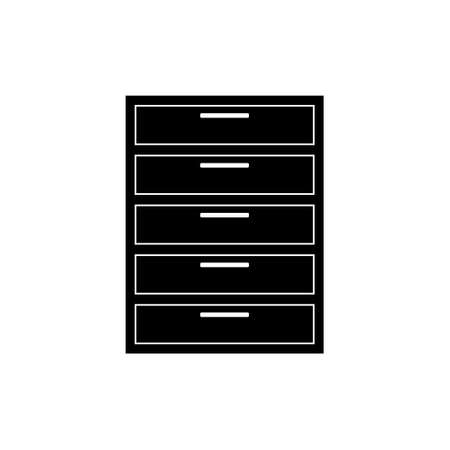 Black line icon for Chest, drawers and furniture.Flat design