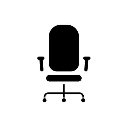Black Office chair line icon on a white background. Vector illustration