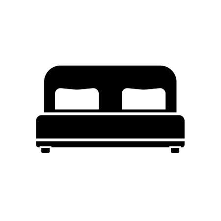 Black Double bed icon concept. Double bed flat vector symbol, sign, illustration.