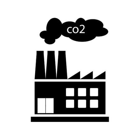 Factori Or Power Plant Flat Design Of Vector Illustration. Manufactory Industrial Building Refinery, CO2 emissions problems Illusztráció