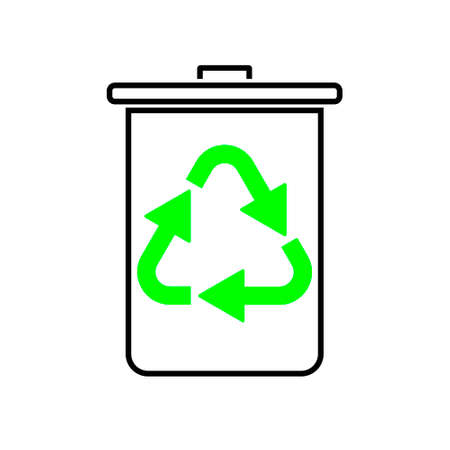 Garbage Trash can bin Vector Icon. Eco Bio concept, recycling. Flat design illustration isolated on white. Illusztráció
