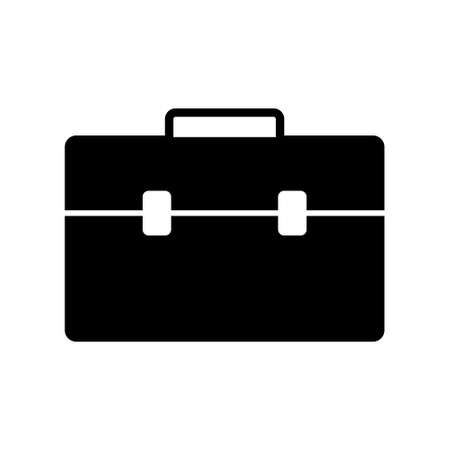 Black Business bag icon isolated on white, flat style.