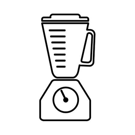 Flat line blender outline single isolated vector icon. Kitchen appliances and electronics illustration on white background Vetores