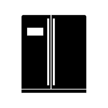 Modern freezer refrigerator or fridge line art vector icon for apps and websites, flat design Illusztráció