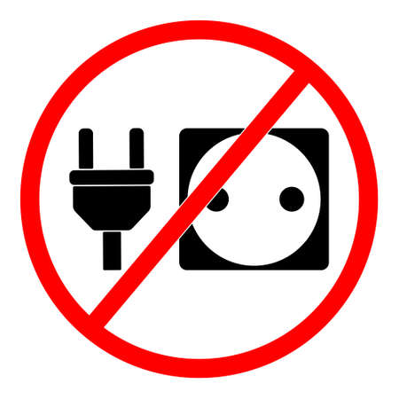 Simple Vector Prohibition Sign, Do Not Charge Your Gadget
