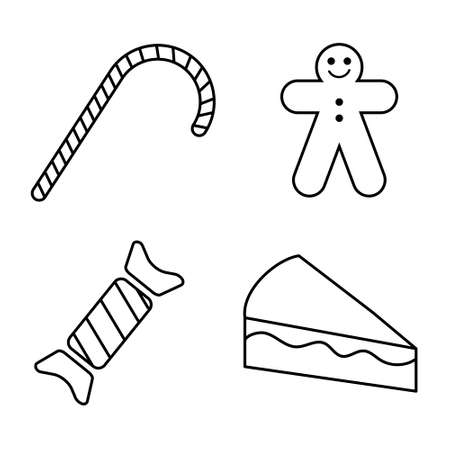 Christmas and New Year sweets, flat line design