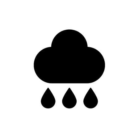 Rain. Single black icon on white background. Vector illustration.Flat design