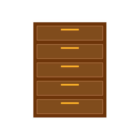 Brown icon for Chest, drawers and furniture.Flat design