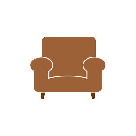 Brown armchair vector isolated, flat design.Furniture symbol, logo illustration 向量圖像