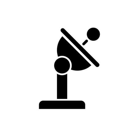 Black Radar satellite dish icon thin line for web and mobile, modern minimalistic flat design.