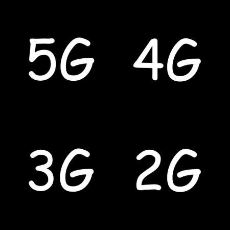 5G, 4G, 3G, 2G vector symbol set isolated on black background - new mobile communication technology and smartphone network icons for website, ui, mobile app, banner.