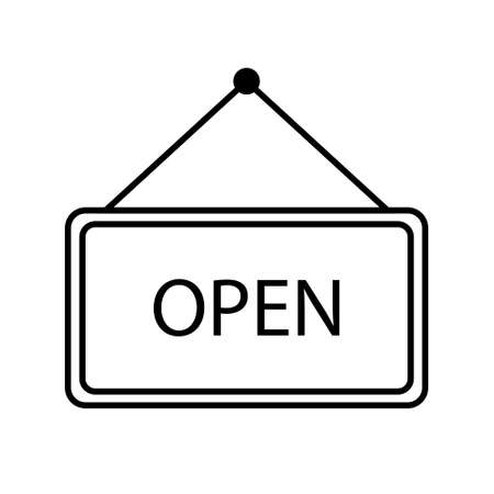 Open door sign flat style. Graphic welcome icon hanging on shop door. Signboard for office, cafe, retail market.